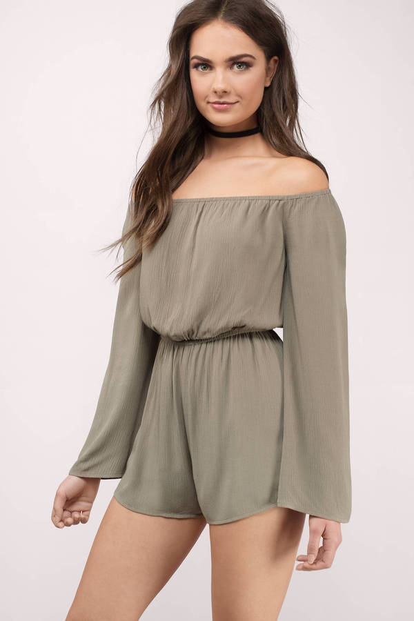 olive-gem-off-shoulder-romper