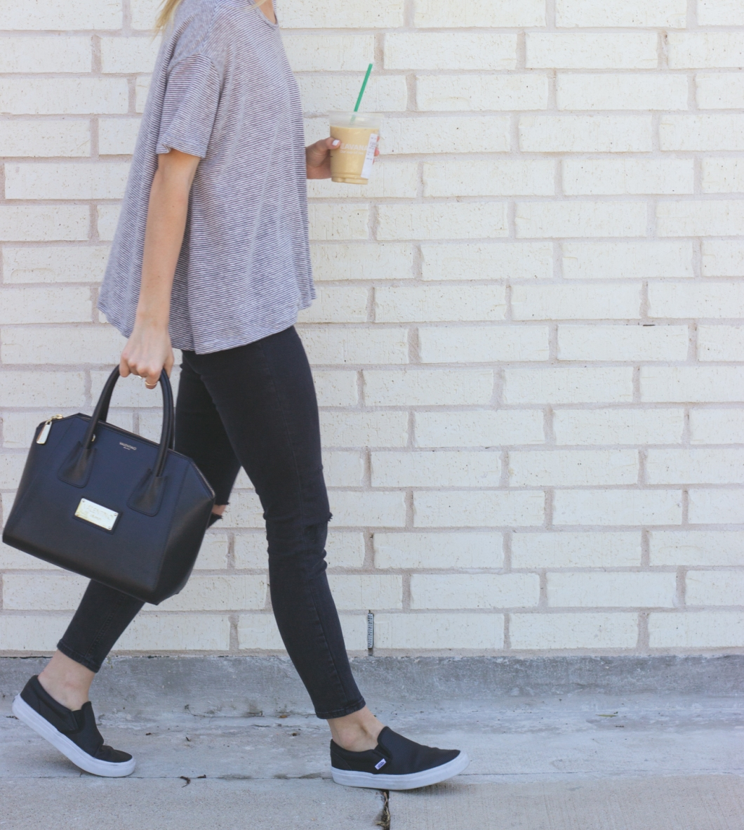 livvyland-blog-olivia-watson-austin-texas-fashion-blogger-iced-coffee-trendy-hipster-striped-shirt-vans-black-slip-on-leather-sneakers-summer-spring-outfit-casual-topshop-jamie-black-jea